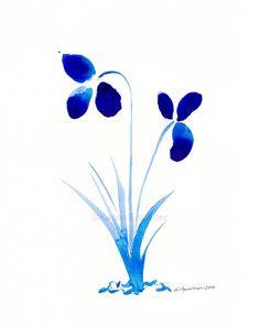 Watercolor print of cobalt blue flowers: by KarenFaulknerStudio