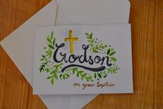 handpainted baptism card Baptism Cards, Homemade Cards, Art Inspo, Ms, Wraps, Gift Wrapping, Hand Painted, Gifts, Painting