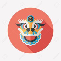 Chinese New Year Flat Icon With Long Shadow,The Dragon And Lion ...