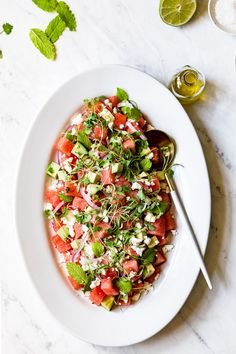 Watermelon Avocado Salad with Mint and Feta Cheese