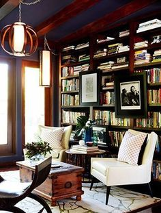 A double dose of comfort for a reading spot.