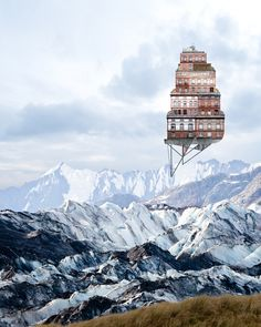 Artist and designer Matthias Jung (previously here and here) collages unique elements of architecture to create imaginary homes set in isolated landscapes. The works float above environments on the outskirts of civilization, appearing like a mirage above rolling plains or an arctic glacier. The d