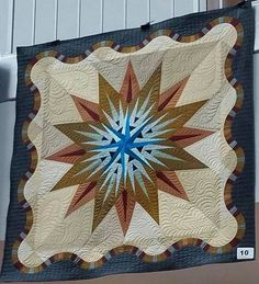 Vintage Compass, Quiltworx.com, Made by a participant of the Minnesota Quilt Show in June 2017 Vintage Compass, Vintage Patterns, Christmas Tree, Quilts, Sewing, Wall Hangings, Holiday Decor, Minnesota, June