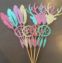 glitter Stag Head Feather Dream Catcher Cupcake Appetizer toppers bridal shower Wedding engagement Bachelor party food picks(China (Mainland))