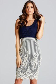 4b1a0274d6ec Little Mistress Navy and Cream Stripe Lace Insert Dress - Little Mistress  from Little Mistress UK