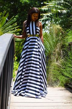 An elegant striped maxi dress with volume for days, perfect for a summers day or an outdoor event. Has side pockets, back zipper, crisscross back straps and lining. Non-stretchy fabric. Comes in 32 - 38 (South African sizes) at Global Shipping available. Black White Stripes, Black And White, Striped Maxi, Love Affair, African, Zipper, Pockets, Clothes For Women, Elegant