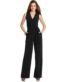 NY Collection Petite Jumpsuit, Sleeveless Surplice Wrap Belted Wide Leg Jersey @Nikole Young