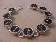 TYPEWRITER KEY BRACELET BLACK NUMBERS TYPEWRITER KEY JEWELRY BRACELET | magic_closet - Jewelry on ArtFire