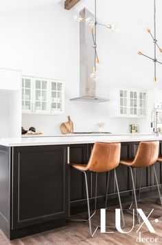 Decor in a beautiful transitional LUX style. Light dark contrast, pops of color, light and airy! Designed by LUX decor, photographed by Angela Auclair Kitchen Stools, Kitchen Decor, Kitchen Design, Kitchen Ideas, Kitchen Inspiration, Black Kitchens, Home Kitchens, Ikea, Island Chairs