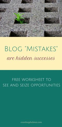 Blogging and entrepreneurial 'mistakes' and 'failures' are actually opportunities for success. Find out how to turn bad to good and reach success with your blog based business! Free download Entrepreneurial Mindset Workbook.