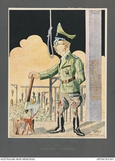 Macabre portrait of Heinrich Himmler (1900-1945) as executioner. The original drawing reproduced in this offset lithograph was created by Polish artist Stanislaw Toegel (1905-1953) while held in a German labour camp at Gotteningen.