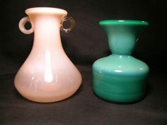 POLAND CASED ART GLASS VASES GREEN PEACH 2 PCS - Largest measures 5` wide x 6` high. Good condition. - ****PLEASE NOTE ***** 1) The Ending Time posted for this item is wrong. Ebay will disable the pro