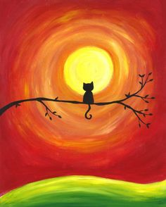 Sunset Kitty – Cat Silhouette Sunset Art Print Sunset Kitty Cat Silhouette Sunset Art Print This image has get. Easy Canvas Painting, Simple Acrylic Paintings, Canvas Art, Sunset Painting Easy, Acrylic Canvas, Kids Canvas, Sunset Drawing Easy, Canvas Ideas, Painting Tips