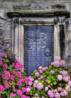 antique blue doorway