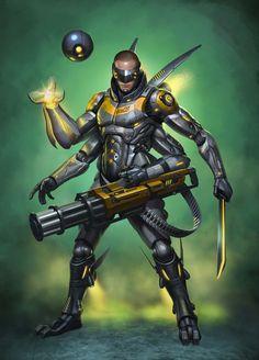 Cyborgs by Dmitriy Semenov on ArtStation. Cyberpunk Character, Cyberpunk Art, Character Concept, Character Art, Character Design, Space Opera, Futuristic Armour, Sci Fi Armor, Superhero Design