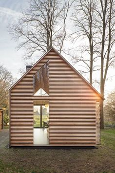 Dutch architecture firm Zecc Architecten teamed up with interior designer Roel van Norel to create an idyllic cottage in the countryside near Utrecht. With its gabled slate roof and four continuous walls, the quintessential cottage could leap from. Cabins In The Woods, House In The Woods, Utrecht, Residential Architecture, Modern Architecture, Hotel Design Architecture, Chinese Architecture, Home Fashion, Tiny House