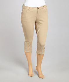 khaki capri pants - Pi Pants