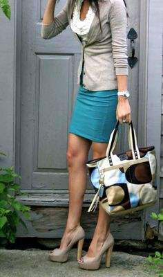 Not a fan of the bag... monday blues work outfit - so cute, but I can't wear heels to work http://amzn.to/ZbE8nT