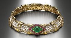 Choker in gold with cultured pearls, emeralds, rubies and diamonds, 1988 - Bulgari