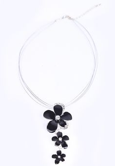 Black Glaze Flower Diamond Necklace. #fashion #jewelry #accessories #women