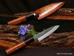 Hand forged custom order Hon Yaki shirogami knives with koa handle and saya.  Salter Fine Cutlery