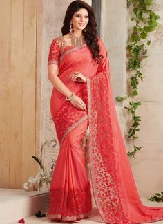 Light Red Embroidery Stone Work Fancy Silk Designer  Sarees http://www.angelnx.com/Sarees