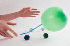Make Your Own Balloon Car: Make air-powered cars that jet across the floor. Use 'em to play games! For step-by-step instructions visit the Design Squad website. Here's what you need to make your Balloon Car! Balloon Powered Car, Balloon Cars, Balloons, Steam Activities, Science Activities, Science Experiments, Science Toys, Stem Projects, Science Projects