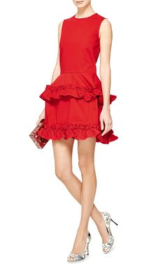 Tiered Ruffled-Hem Dress in Red by J. Brand x Simone Rocha