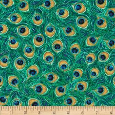 Timeless Treasures Jewel of the Garden Peacock Feathers Peacock from @fabricdotcom  Designed by Dona Gelsinger for Timeless Treasures, this cotton print fabric is perfect for quilting, apparel and home decor accents. Colors include jade, turquoise, tan, and midnight blue.