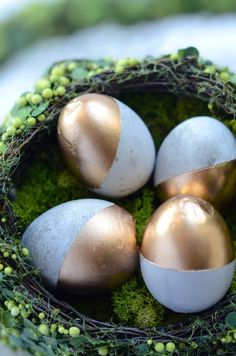 DIY concrete Easter eggs