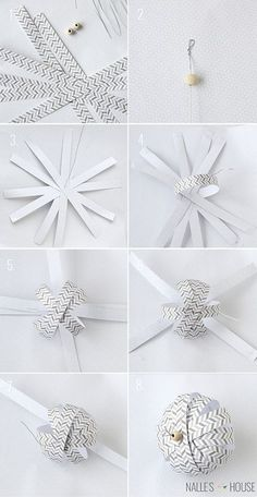 Papieren kerstversiering: origami of kirigami? Paper Ornaments, Christmas Ornament Crafts, Ornaments Design, Christmas Paper, Diy Christmas Ornaments, Homemade Christmas, Christmas Projects, Holiday Crafts, Christmas Holidays