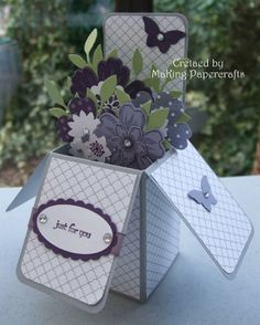 """1/23/2014; Margaret at 'MaKing Papercrafts' blog; another great """"card in a box"""" with a link to a video tutorial"""
