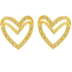 Brinco Coração Cravejado Com Zircônias Semi-joia - Rivera Jóias