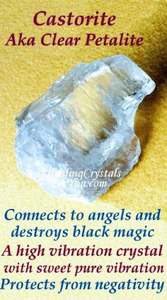 Petalite is a high crystal energy stone. It connects you to angels, destroys black magic & other unwelcome forces. It has a pure sweet vibration that creates a deep connection to the spiritual realm. Minerals And Gemstones, Crystals Minerals, Stones And Crystals, Gem Stones, Crystal Healing Chart, Healing Crystals For You, Crystal Identification, Rocks And Gems, Looks Cool