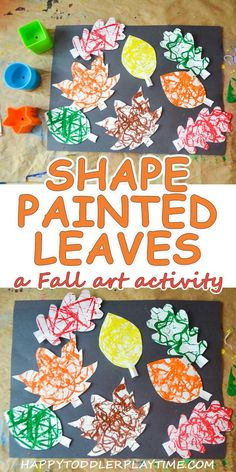Shape Painted Leaves: Fall Process Art Shape Painted Leaves – HAPPY TODDLER PLAYTIME Here is a great way to celebrate autumn with this easy and fun process art activity painting leaves using different shapes! September Art, September Crafts, Fall Arts And Crafts, Fall Crafts For Kids, Fall Toddler Crafts, Autumn Art Ideas For Kids, Fall Art Projects, Toddler Art Projects, Fall Activities For Toddlers
