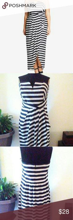 Striped maxi dress New with tags, zips in the back, has attachable straps. City Chic Dresses Maxi