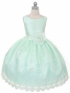 Mint Tulle Flower Girl Dress with Floral Design Skirt