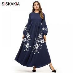 Siskakia Elegant Vintage Floral Embroidery Women Long Dress High Waist Swing  A line Dresses Maxi Bishop 7cdbdd00c7fe
