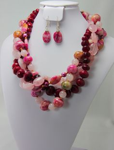 "Prefect for Spring, our ""Cherry Frou"" Necklace - pink and pretty with a gold tone magnetic clasp.  Includes earrings. Available at www.PearlsAndCake.com Cherry, Beaded Necklace, Jewels, Spring, Board, Pretty, Earrings, Projects, Fun"