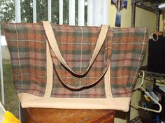 Authentic J. Peterman Brown Plaid Large Carry All Tote Bag