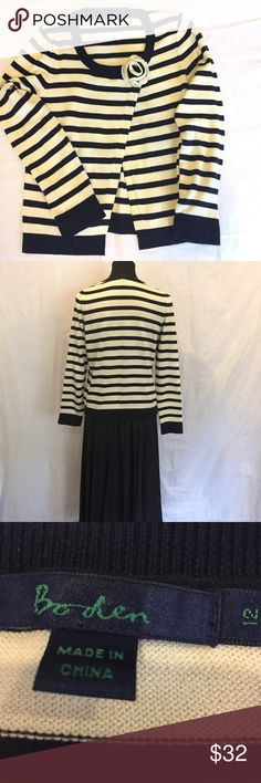 "Boden Navy & Cream Rosette Split Cardigan Pretty! Dress up or down. Pair with a skirt or jeans. Size 12. Bust 20"", sleeve 22.5"", front length 23"", back 22"". 100% cotton Boden Sweaters Cardigans"