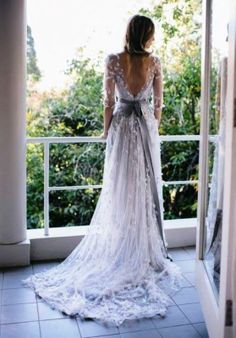 Backless silver lace wedding dress with sash