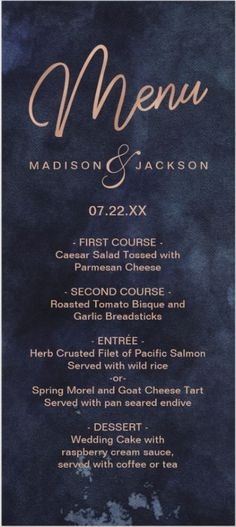Navy Blue Watercolor & Rose Gold Wedding Menu, Perfect for Fall or Winter Wedding Menu cards Simple Wedding Menu, Elegant Modern Wedding, Wedding Menu Cards, Wedding Napkins, Minimalist Wedding Invitations, Winter Wedding Invitations, Watercolor Wedding Invitations, Winter Wedding Bridesmaids, Winter Wedding Flowers