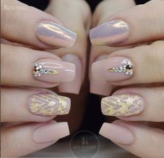 Fairy Dust over Pink Peach Nude and Gold Flecks