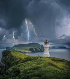 Mykinesbygd, Faroe Islands - by Brent Shavnore Lighthouse Lighting, Lighthouse Pictures, Lightning Photography, Nature Photography, Photos Originales, Image Nature, Tornados, Am Meer, Faroe Islands