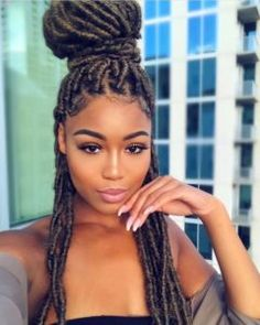 For your next new protective hairstyle, we're telling you how to do faux locs and showing our fave long and short faux locs styles using Marley hair and more. Black Hair Afro, Black Girl Braids, Braids For Black Hair, Box Braids Hairstyles, Dreadlock Hairstyles, Hairstyles Men, Straight Hairstyles, Cornrows Natural Hair, Braids Cornrows