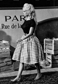 Vichy skirt: Brigitte Bardot-1959 on set during the filming of Come Dance with Me