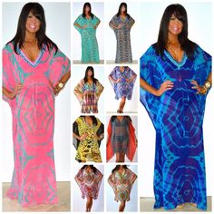 SOUTH BEACH KAFTAN S M L XL 1X 2X 3X Chiffon Boho Maxi / Short Length Cover Up #IndiaTropical #Caftan #SummerBeach
