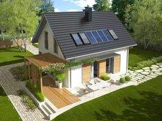 Projekt domu AC Lea (wersja A) CE - DOM - gotowy koszt budowy Solar Panel Cost, Solar Panels, Valparaiso Indiana, Landscaping Jobs, Interior And Exterior, Pergola, Places To Visit, House Design, Outdoor Structures