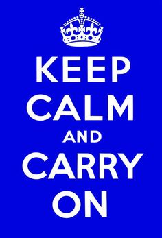 This is a royal blue version of the Keep Calm and Carry On poster designed by the British Ministry of Information during WWII. This poster is faithful to the original in typography, proportion and spa